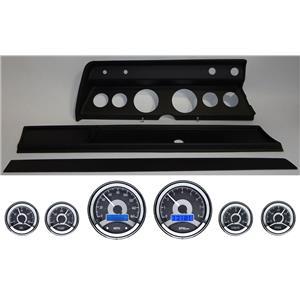 66 Chevelle Black Dash Carrier Panel w/ Dakota Digital VHX Universal 6 Gauge