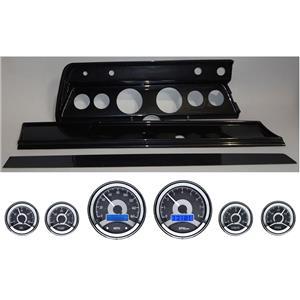 66 Chevelle Carbon Dash Carrier Panel w/ Dakota Digital VHX Universal 6 Gauge