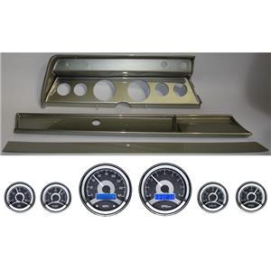 66 Chevelle Silver Dash Carrier Panel w/ Dakota Digital VHX Universal 6 Gauge