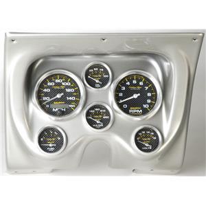 67 68 Firebird Silver Dash Carrier w/Auto Meter Carbon Fiber Gauges