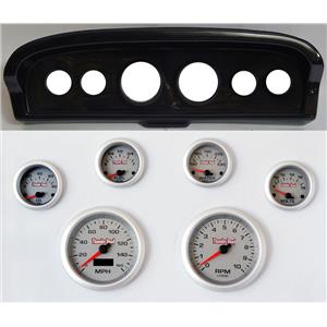 61-66 Ford Truck Carbon Dash Carrier Concourse Silver Face Gauges