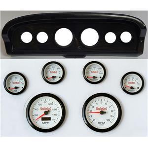 61-66 Ford Truck Carbon Dash Carrier Concourse White Face Gauges