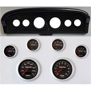 61-66 Ford Truck Carbon Dash Carrier Concourse Black Face Gauges
