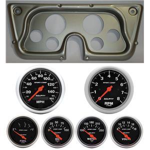 67-72 GM Truck Silver Dash Carrier w/Auto Meter Sport Comp Electric Gauges