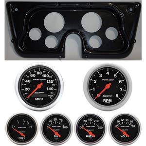 67-72 GM Truck Carbon Dash Carrier w/Auto Meter Sport Comp Electric Gauges