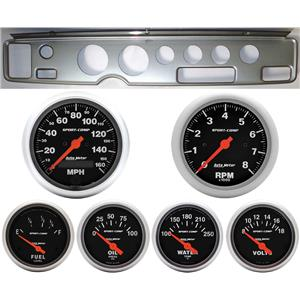 70-81 Firebird Silver Dash Carrier w/Auto Meter Sport Comp Electric Gauges