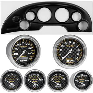 94-04 Mustang Black Dash Carrier w/ Auto Meter Carbon Fiber Gauges