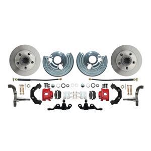 "Mopar A Body Standard Disc Brake Kit 5x4"" Bolt Pat 11"" Plain Rotor Red Caliper"