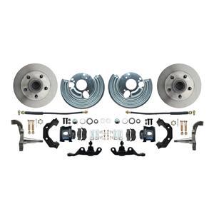 "Mopar A Body Standard Disc Brake Kit 5x4"" Bolt Pat 11"" Plain Rotor Black Caliper"