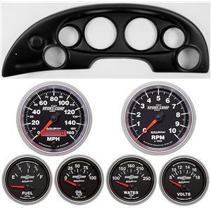 94-04 Mustang Black Dash Carrier w/ Auto Meter Sport Comp II Gauges