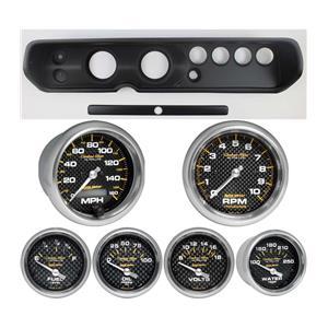 """64 Chevelle Black Dash Carrier w/ Auto Meter 3-3/8"""" Carbon Fiber Electric Gauges"""