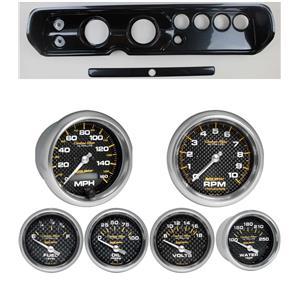 """64 Chevelle Carbon Dash Carrier Auto Meter 3-3/8"""" Carbon Fiber Electric Gauges"""