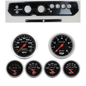 """64 Chevelle Carbon Dash Carrier w/ Auto Meter 3-3/8"""" Sport Comp Electric Gauges"""