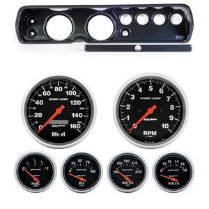 """64 Chevelle Carbon Dash Carrier w/ Auto Meter 5"""" Sport Comp Electric Gauges"""