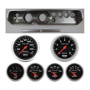 "64 Chevelle Silver Dash Carrier w/ Auto Meter 3-3/8"" Sport Comp Electric Gauges"