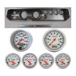 """64 Chevelle Silver Dash Carrier w/ Auto Meter 3-3/8"""" Ultra-Lite Electric Gauges"""