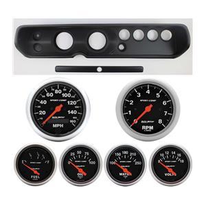 """64 Chevelle Black Dash Carrier w/ Auto Meter 3-3/8"""" Sport Comp Electric Gauges"""