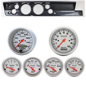 "67-69 Barracuda Carbon Dash Carrier w/ Auto Meter 5"" Ultra-Lite Electric Gauges"