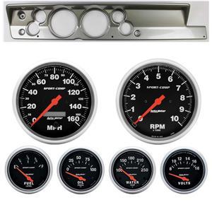 "67-69 Barracuda Silver Dash Carrier w/ Auto Meter 5"" Sport Comp Electric Gauges"