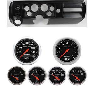 """68 Chevelle Black Dash Carrier w/ Auto Meter 3-3/8"""" Sport Comp Electric Gauges"""