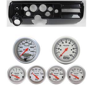 "68 Chevelle Carbon Dash Carrier w/ Auto Meter 3-3/8"" Ultra-Lite Electric Gauges"