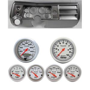 """68 Chevelle Silver Dash Carrier w/ Auto Meter 3-3/8"""" Ultra-Lite Electric Gauges"""