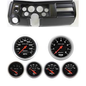 """69 Chevelle Black Dash Carrier w/ Auto Meter 3-3/8"""" Sport Comp Electric Gauges"""