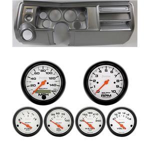 "69 Chevelle Silver Dash Carrier w/ Auto Meter 3-3/8"" Phantom Electric Gauges"