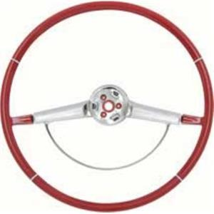 OER 1965-66 Impala Steering Wheel with Chrome Horn Ring - Red 9742431