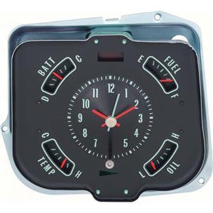 OER 1968 Chevelle / El Camino Dash Gauge Cluster ; Clock, Batt, Fuel, Oil, Temp 6481543