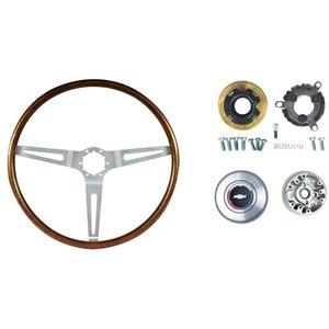 """OER 1967-68 GM Walnut Wood Steering Wheel Kit; 16"""" Diameter; N34 Option *R6532"""