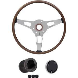 OER 1971 Mopar E-Body Wood Grain Rim Blow Steering Wheel Kit *ME1860