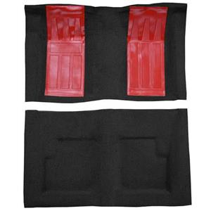 OER 69-71 Torino GT Convertible Automatic - Loop Carpet Kit w/ 2 Red Inserts - Black F9215601