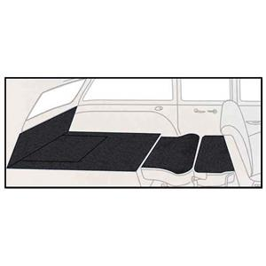 OER 55-57 Chevy 2 Dr Station Wagon 5 Piece Black Cut Pile Rear Cargo Area Carpet Set TF117801