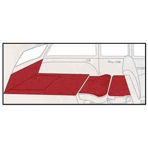 OER 55-57 Chevy 2 Dr Station Wagon 5 Piece Red Cut Pile Rear Cargo Area Carpet Set- TF117802