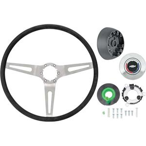 OER 69-72 Comfort Grip Steering Wheel Kit - w/ Tilt Wheel Silver Spokes Black Grip *K620