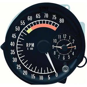 OER 1973-75 Firebird Tachometer / Clock In Dash Gauge Assembly ; 5500 Redline 5658075