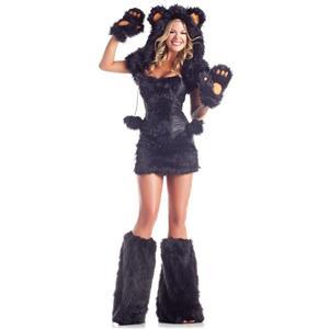 Sexy Women's Black Bear Rave Adult CostumeS/M