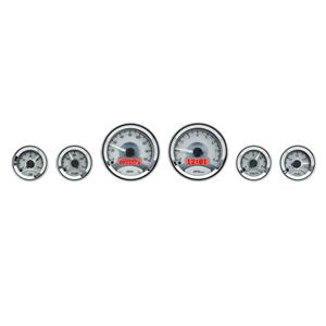 Dakota Digital Round Universal Analog Gauges Silver Alloy Red VHX-1060-S-R