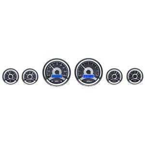Dakota Digital Universal 6 Round Dash Gauges Analog Black Alloy / Blue VHX-1060-K-B