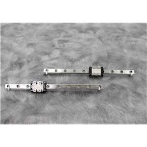 Used: Lot of 2 THK 190mm Mini Linear Guides with SRS9M Mini Bearing Blocks