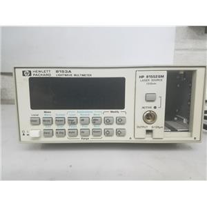 HP 8153A LIGHTWAVE MULTIMETER W 81552SM 1310NM LASER MODULE AS IS