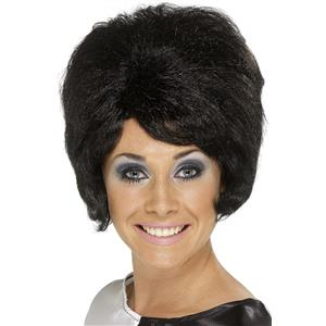 60's Style Cilla Short Black Beehive with Bangs