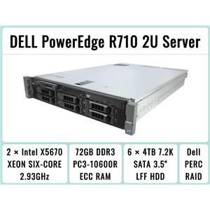 DELL PowerEdge R710 Server 2×Six-Core Xeon 2.93GHz + 72GB RAM + 6×4TB SATA RAID