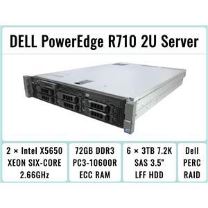 DELL PowerEdge R710 Server 2×Xeon Six-Core 2.66GHz + 72GB RAM + 6×3TB 7.2K SAS