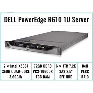 DELL PowerEdge R610 Server 2×Quad-Core X5687 Xeon 3.6GHz 72GB RAM 6×1TB SAS RAID