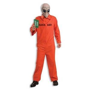 Illegal Alien Green Card Jumpsuit Adult Costume and Mask