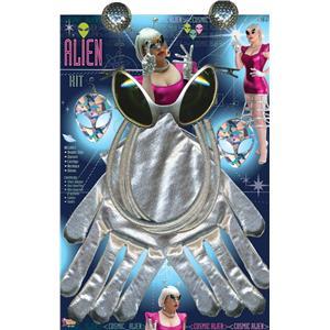 Silver Alien Costume Kit - Glasses, Gloves, Necklace, Earrings, Hairclips