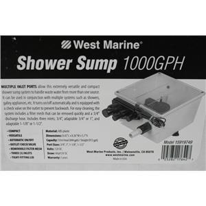 West Marine 1,000 GPH Multiple Port Shower Sump 15919749 57151WM 12V draw 4A DC