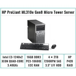 HP ProLiant ML310e Gen8 Tower + E3-1240 v2 Quad-Core Xeon 3.4GHz + 16GB RAM + 4×2TB 7.2K SATA + P420